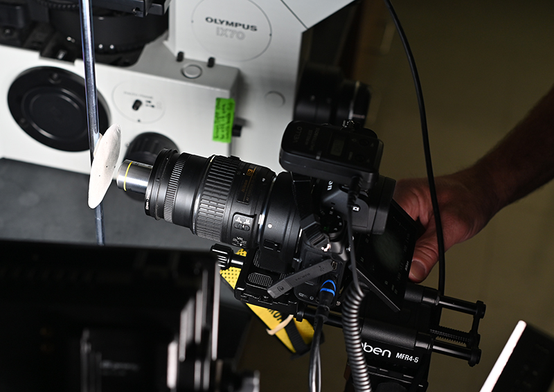 Capturing a sample image using a 10x objective mounted directly on a mirrorless digital camera lens using an objective lens adapter.