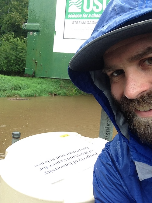 Sampling during a storm event in September 2018 on Gunpowder Falls River, Baltimore County, MD.