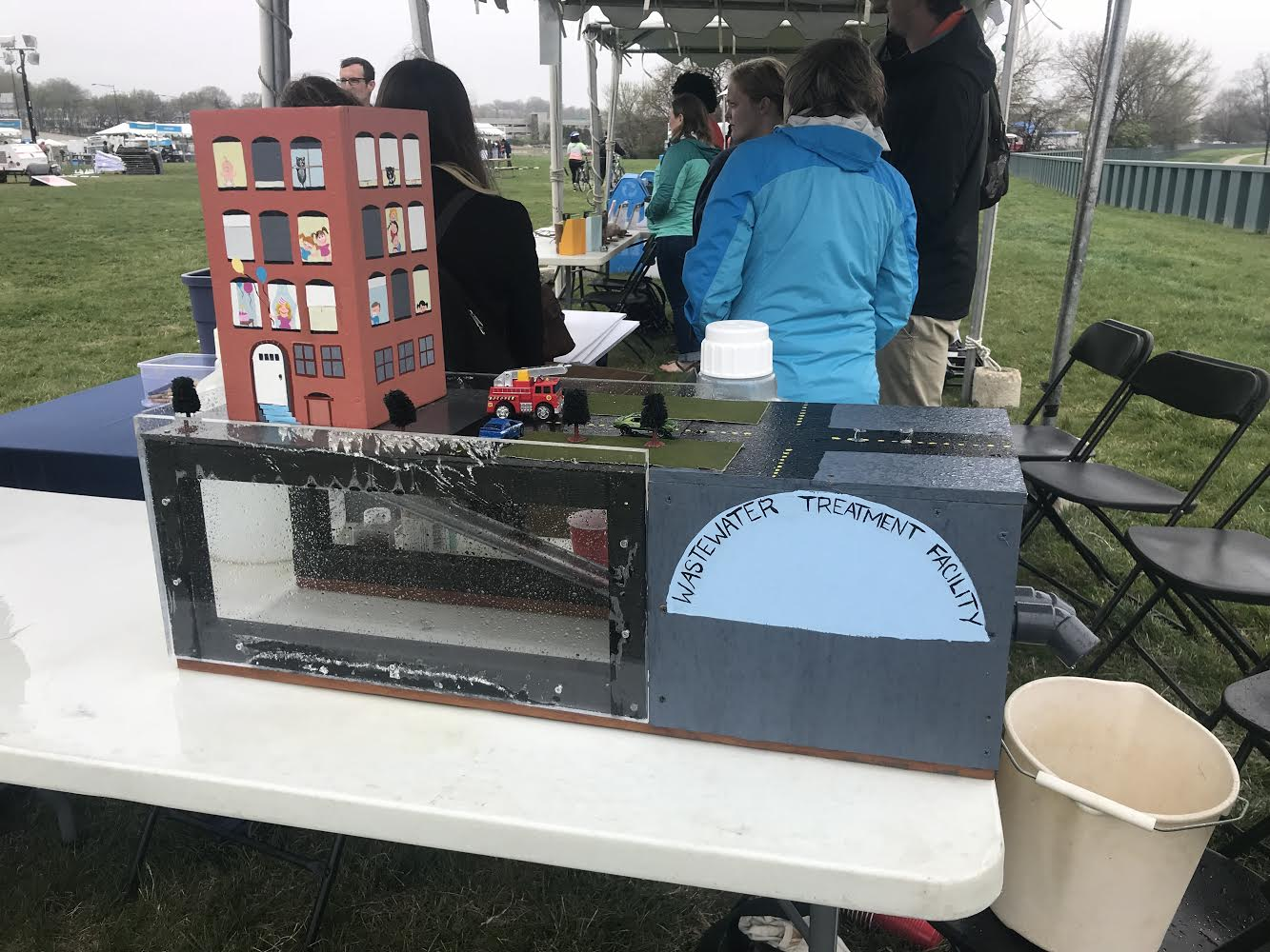 At the 4th annual Anacostia River festival, I used a wastewater treatment plant model to explain the goal of the Tunnel project to local citizens. Photo credit: Samantha Gleich