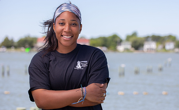 Imani Black outside the Hooper's Island hatchery