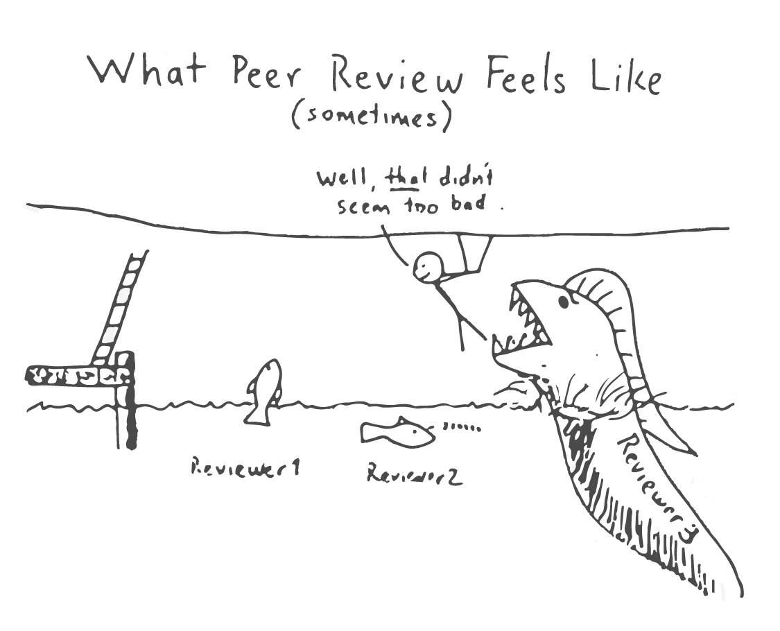 A hand-drawn meme from Dr. Brandon Jones's keynote presentation at the Atlantic Estuarine Research Society Spring 2018 meeting illustrating how peer-review criticism can feel. Credit: Brandon Jones