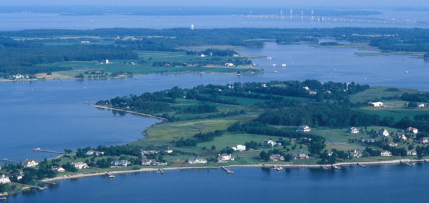 aerial view of chesapeake bay