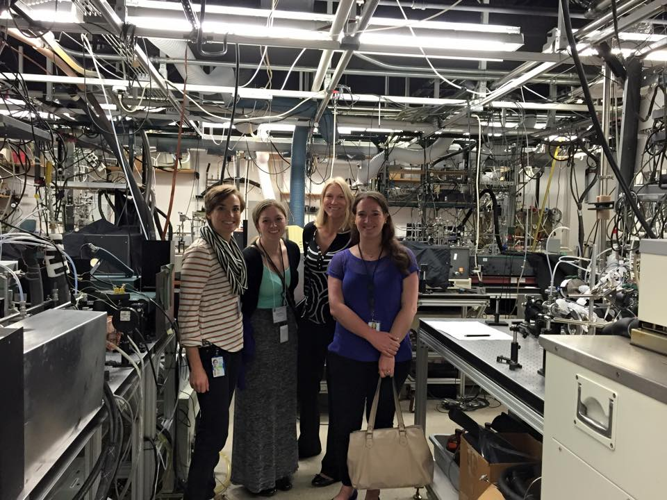 Brittany Marsden with other 2015 Knauss Fellows touring the Chemical Sciences Division of the Earth System Research Lab in Boulder, CO. Pictured, left to right: Caroline Mosley, Jessica Foley, Merriam Norris (OAR FCA Director), and Brittany Marsden. Credit: Andrea Badder.
