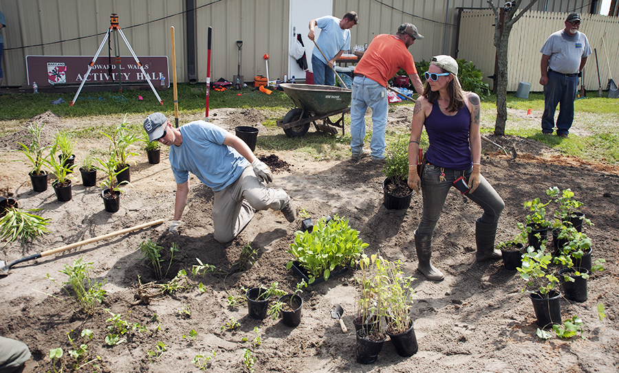 volunteers and watershed steward trainees install plants and prepare bare soil around garden for grass seed