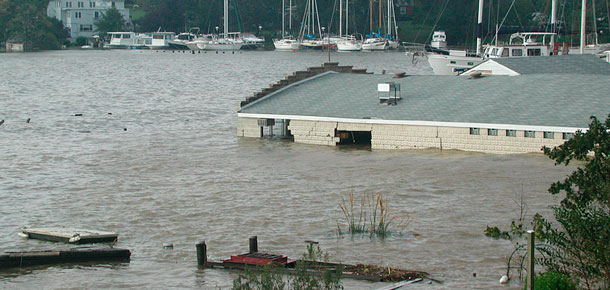partially submerged building in flood