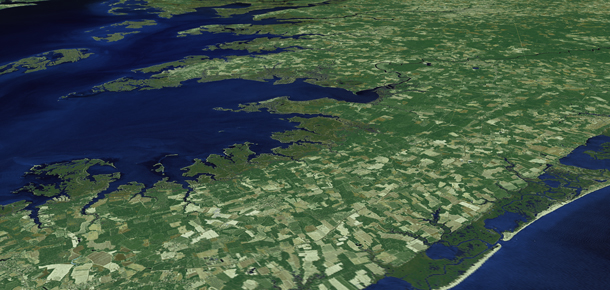 satellite photo of section of bay watershed