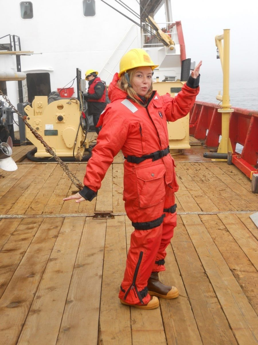 Sophie Caradine-Taber wearing a protective suit worn while collecting mud samples from the ocean bottom