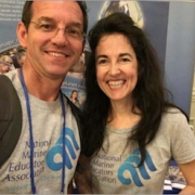 photo of Adam Frederick and Jeannette Connors of the National Marine Educators Association and Maryland Sea Grant