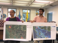 Victoria Chanse, associate professor and master of landscape architecture program chair at University of Maryland, with graduate student Sebastian Velez-Lopez at a collaborative learning meeting with Smithville residents in Cambridge.