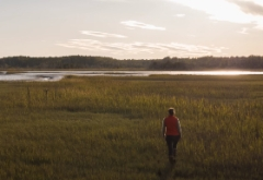 Still image from film of a person walking away from the camera into a marsh