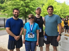 UMCES Appalachian Lab students (left to right) Joel Bostic, Stephanie Siemek, Joe Accord, and Jake Hagedorn after finishing the Path of the Flood half marathon in Johnstown, PA. Credit: Emmely Bostic