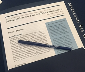 Close-up image of Maryland Coastal Law and Policy Roundtable materials