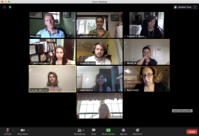 A screen capture of a Zoom meeting with 10 participants on screen